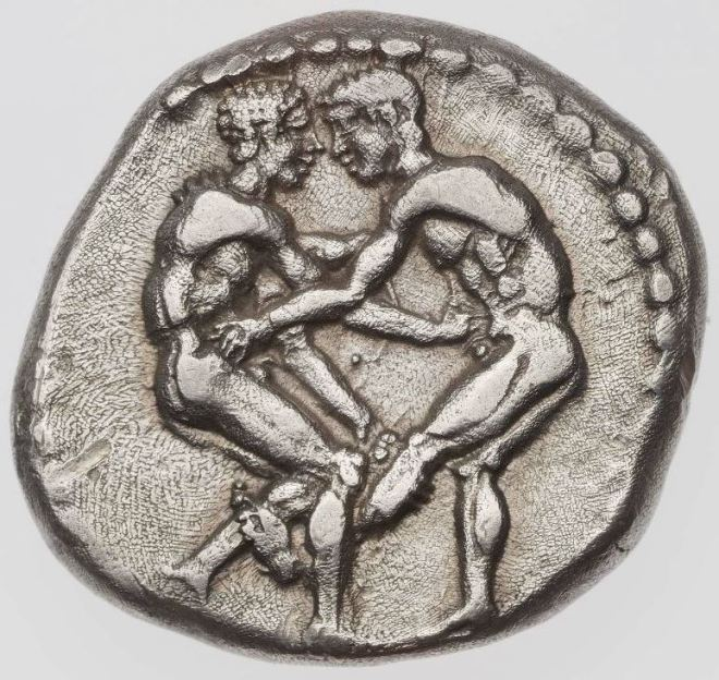 Stater-of-Aspendos-with-two-youths-wrestling-380-325-B.C.-
