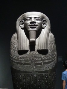 Sarcophagus of Wahibreemakhet; Egyptian, Dynasty 26, c. 600 BC. The hieroglyphic inscription on this large sarcophagus identifies the deceased as Wahibreemakhet, a high official who held the title of Royal Sealer. Although he bears an Egyptian name and was buried in the manner of an important Egyptian courtier, the names of his father and mother, Alexikles and Zenodote, are Greek. He was likely born in Egypt to immigrant parents, and his father may have been a military commander in the service of Psamtik (ruled 664-610 BCE)