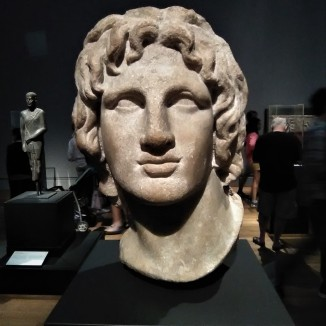 Head of Alexander the Great; Ptolemaic, c. 200 BCE, found in Egypt. When Ptolemy I pronounced himself king of Egypt in 305 BCE, he established a cult to the deified Alexander the Great (ruled 336-323 BCE), whose posthumous portraits were displayed throughout the country.